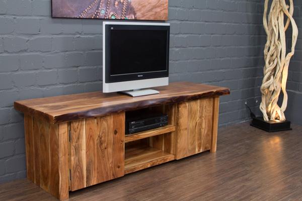 tv sideboard massivholz suar natur baumkante 180x60x57 hifi schrank lowboard neu ebay. Black Bedroom Furniture Sets. Home Design Ideas