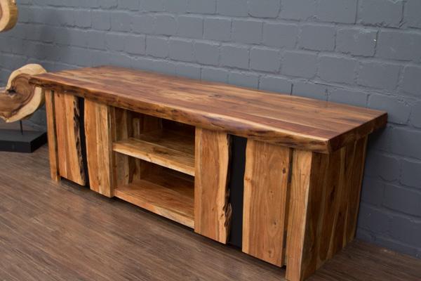 tv sideboard massivholz suar baumkante 180x60x57 hifi schrank lowboard metall ebay. Black Bedroom Furniture Sets. Home Design Ideas