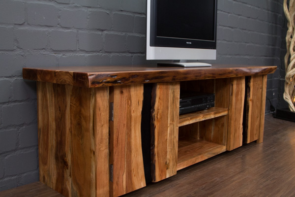 tv sideboard massivholz suar baumkante 180x60x57 hifi schrank lowboard metall ebay. Black Bedroom Furniture Sets. Home Design Ideas
