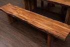 Massivholz Sitzbank aus Suar Baumstamm Planken mit Holzbeinen. Nr.17474