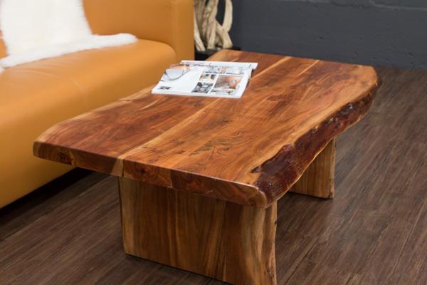 couchtisch massivholz baumstamm suar 120x74x46 wohnzimmertisch planken kanten ebay. Black Bedroom Furniture Sets. Home Design Ideas
