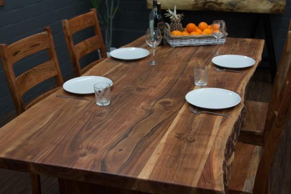 Esstisch massivholz baumstamm planken 214x104x79 holzbeine for Esstisch holz baumstamm