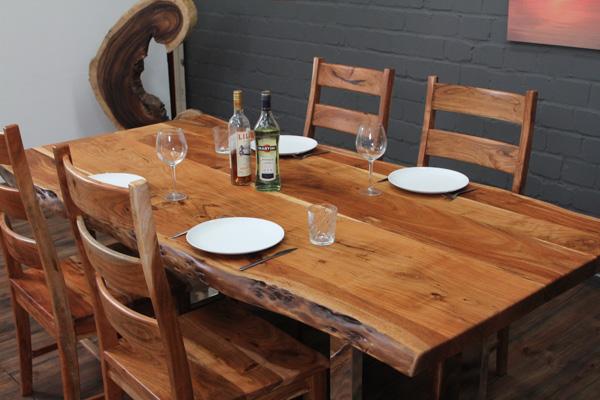 esstisch massivholz baumstamm planken 214x107x76 tisch suar natur stahl beine ebay. Black Bedroom Furniture Sets. Home Design Ideas