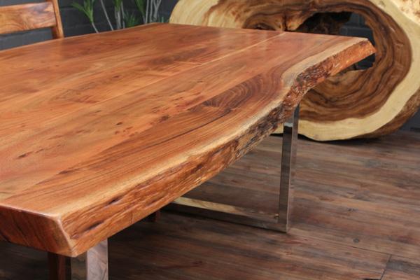 esstisch massivholz baumstamm planken 214x104x76 tisch suar natur stahl beine ebay. Black Bedroom Furniture Sets. Home Design Ideas