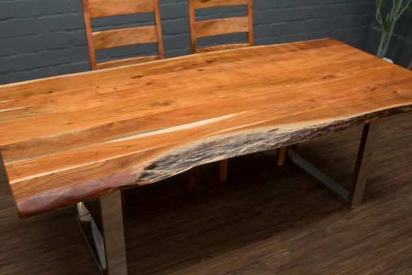 esstisch massivholz baumstamm planken 212x109x76 tisch suar beine stahl poliert ebay. Black Bedroom Furniture Sets. Home Design Ideas