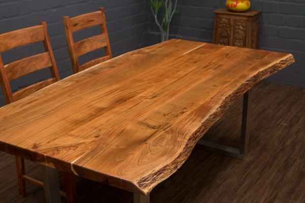 esstisch massivholz baumstamm planken 212x104x76 tisch suar beine stahl matt ebay. Black Bedroom Furniture Sets. Home Design Ideas