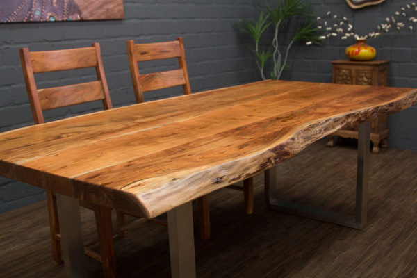 esstisch massivholz baumstamm planken 214x105x76 tisch. Black Bedroom Furniture Sets. Home Design Ideas