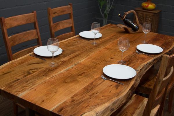 esstisch massivholz baumstamm planken 214x105x76 tisch suar beine stahl matt ebay. Black Bedroom Furniture Sets. Home Design Ideas