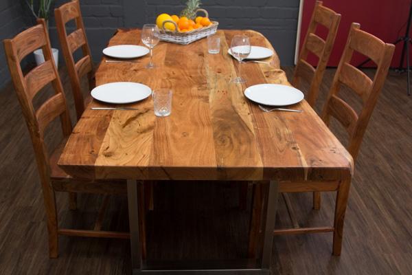 esstisch massivholz baumstamm planken 210x102x76 tisch suar stahl beine matt neu ebay. Black Bedroom Furniture Sets. Home Design Ideas