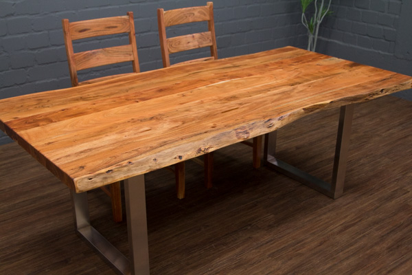 esstisch massivholz baumstamm planken 214x103x76 tisch suar stahl beine matt neu ebay. Black Bedroom Furniture Sets. Home Design Ideas