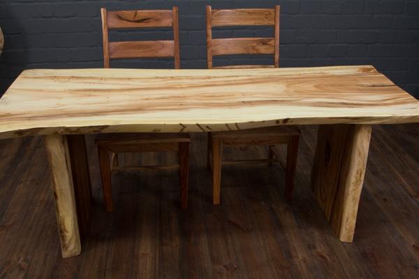 Esstisch massivholz baumstamm suar 201x88x77 natur creme for Esstisch creme