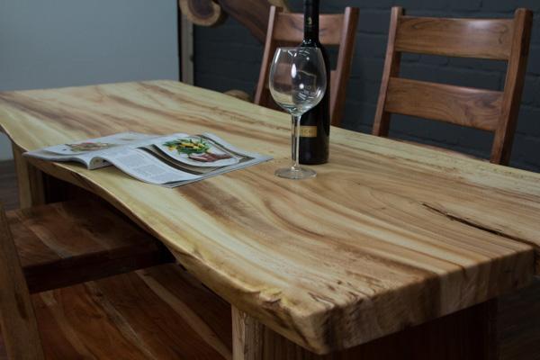 esstisch massivholz baumstamm suar 201x88x77 natur creme tisch platte beine ebay. Black Bedroom Furniture Sets. Home Design Ideas