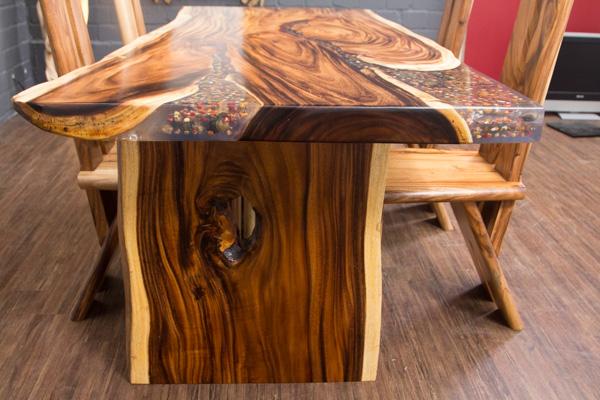 esstisch baumstamm baumscheibe suar epoxid 198x100x78. Black Bedroom Furniture Sets. Home Design Ideas