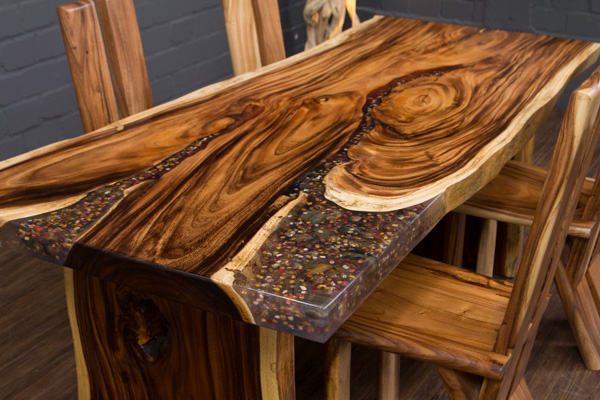 esstisch baumstamm baumscheibe suar epoxid 198x100x78 tisch kunstharz resin neu ebay. Black Bedroom Furniture Sets. Home Design Ideas