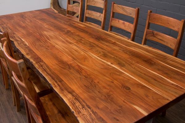 esstisch massivholz baumstamm suar planken 303x110x77 tisch stahl beine matt 3m ebay. Black Bedroom Furniture Sets. Home Design Ideas