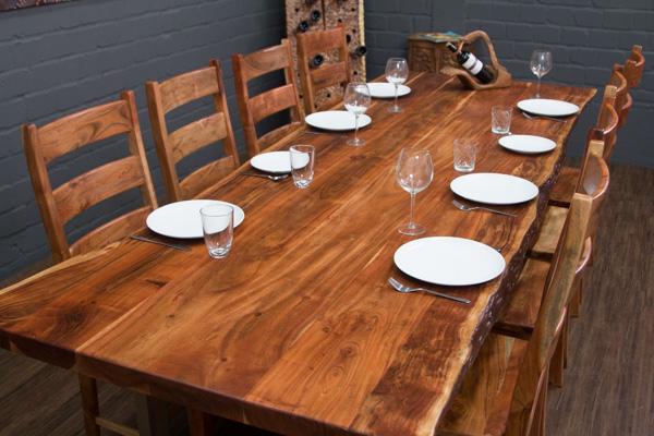Esstisch massivholz baumstamm suar planken 303x110x77 for Esstisch 3m