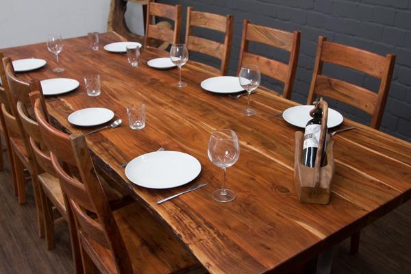 Esstisch massivholz baumstamm suar planken 303x110x77 for Wohnzimmertisch 3 beine