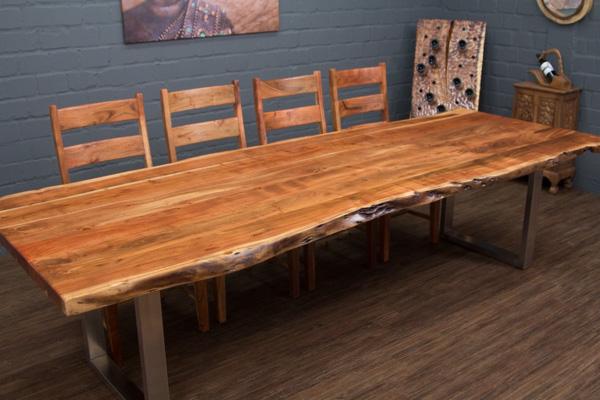 esstisch massivholz baumstamm 303x110x77 suar planken tisch stahl beine matt 3m ebay. Black Bedroom Furniture Sets. Home Design Ideas