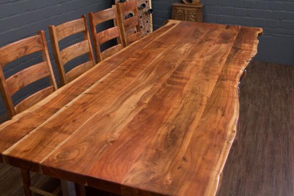 Esstisch massivholz baumstamm 303x110x77 suar planken for Esstisch 3m