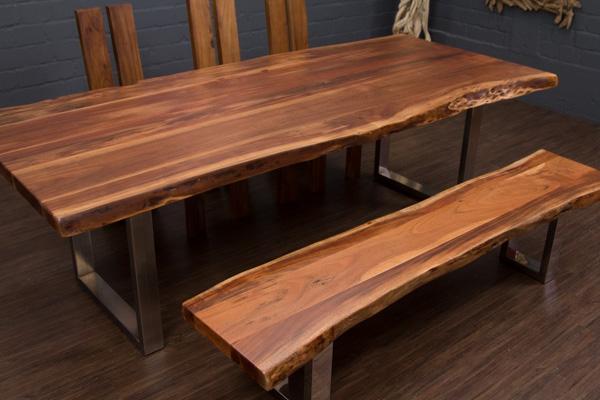 esstisch massivholz baumstamm planken 250x106x77 tisch. Black Bedroom Furniture Sets. Home Design Ideas