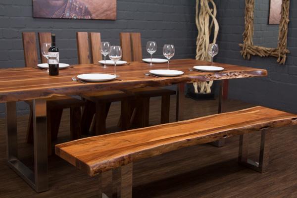 esstisch massivholz baumstamm planken 250x106x77 tisch suar metall beine f e ebay. Black Bedroom Furniture Sets. Home Design Ideas