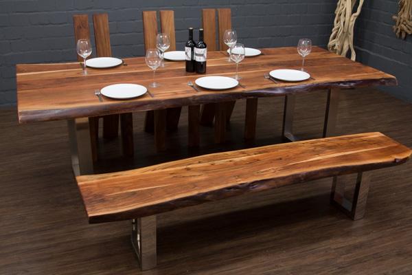 esstisch massivholz baumstamm planken 250x108x77 tisch suar metall beine f e ebay. Black Bedroom Furniture Sets. Home Design Ideas