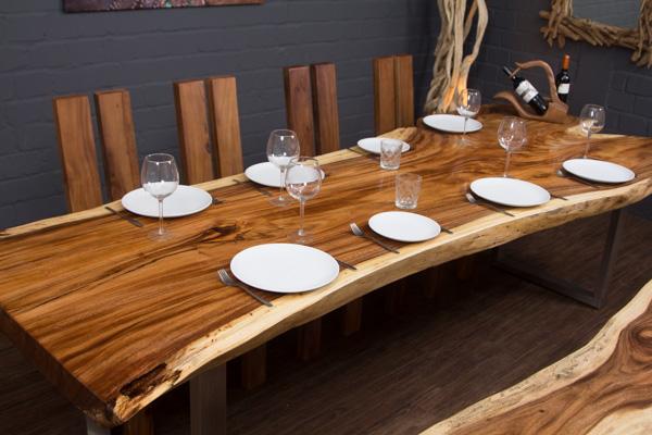 esstisch baumstamm suar 300x116x78 baumkante tisch massivholz metallbeine epoxid ebay. Black Bedroom Furniture Sets. Home Design Ideas