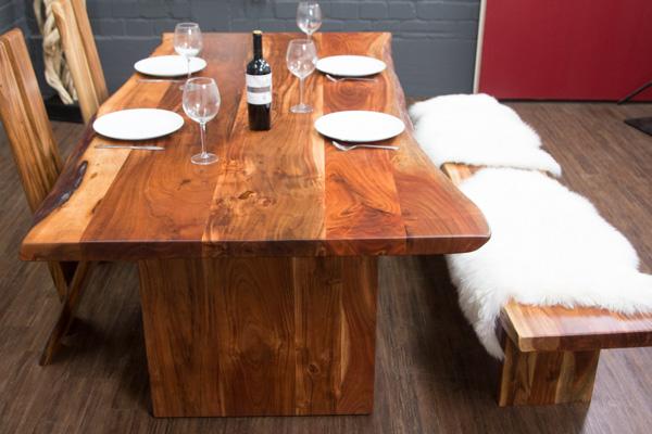 esstisch baumstamm planken holzbeine 212x106x77 massivholz tisch suar baumkanten ebay. Black Bedroom Furniture Sets. Home Design Ideas
