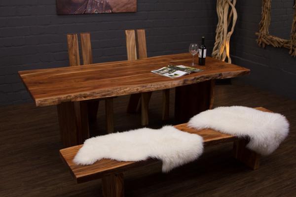 esstisch baumstamm planken holzbeine 213x100x76 massivholz. Black Bedroom Furniture Sets. Home Design Ideas