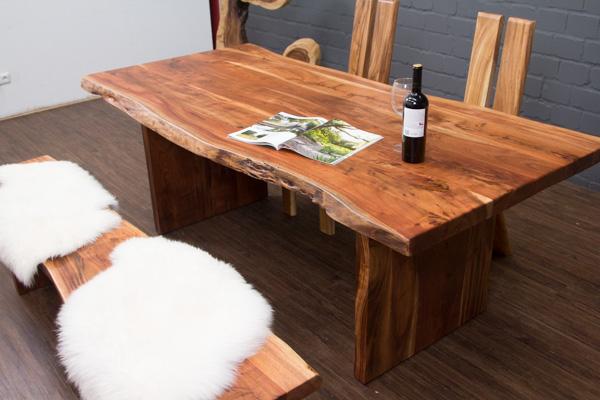 esstisch baumstamm planken holzbeine 213x100x76 massivholz tisch suar baumkanten ebay. Black Bedroom Furniture Sets. Home Design Ideas