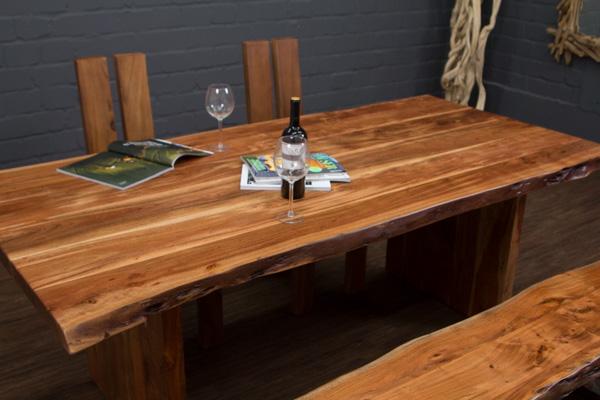 esstisch massivholz baumstamm planken 214x105x77 tisch suar holzbeine baumkanten ebay. Black Bedroom Furniture Sets. Home Design Ideas