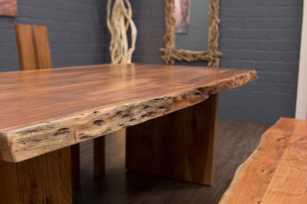 esstisch massivholz baumstamm planken 213x110x77 tisch suar holzbeine baumkanten ebay. Black Bedroom Furniture Sets. Home Design Ideas