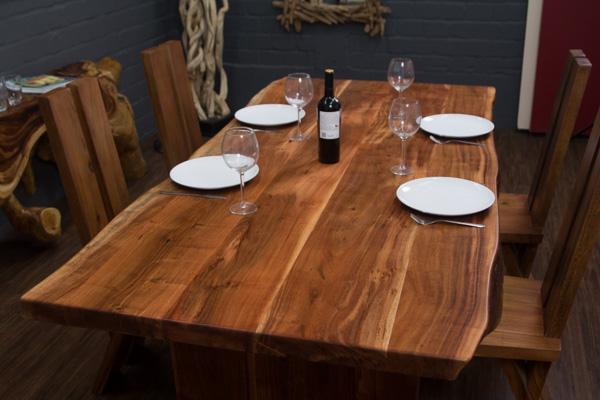 esstisch baumstamm massivholz suar 214x100x77 planken natur tisch holzbeine neu ebay. Black Bedroom Furniture Sets. Home Design Ideas