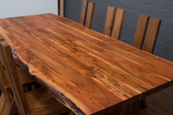 esstisch massivholz baumstamm planken 250x112x77 tisch suar holzbeine baumkanten ebay. Black Bedroom Furniture Sets. Home Design Ideas