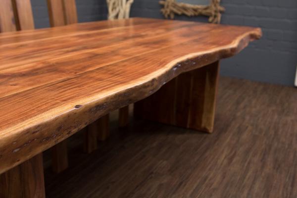 esstisch massivholz baumstamm planken 250x110x77 tisch suar holzbeine baumkanten ebay. Black Bedroom Furniture Sets. Home Design Ideas