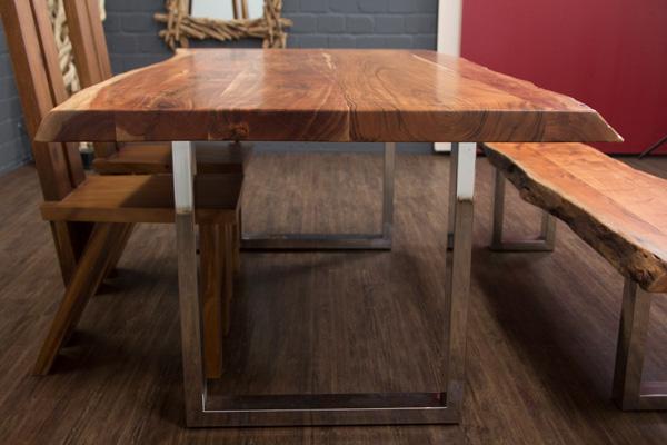 esstisch baumstamm planken metallbeine gl nzend 213x103x76. Black Bedroom Furniture Sets. Home Design Ideas