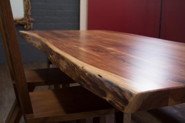 esstisch baumstamm planken metallbeine gl nzend 213x103x76 massivholz suar tisch ebay. Black Bedroom Furniture Sets. Home Design Ideas