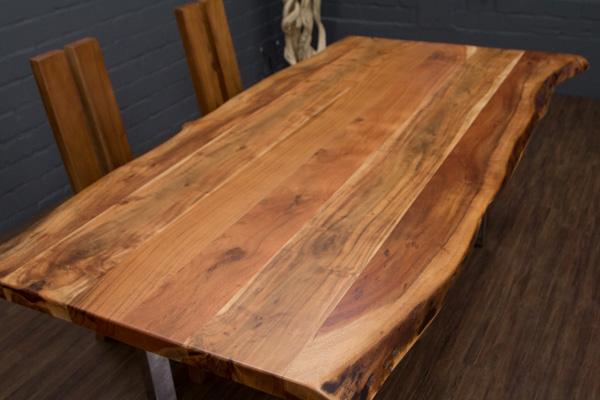 esstisch baumstamm planken metallbeine gl nzend 213x116x76 massivholz suar tisch ebay. Black Bedroom Furniture Sets. Home Design Ideas