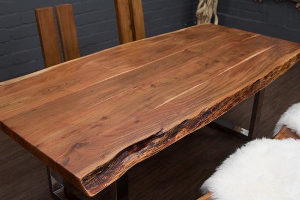 esstisch baumstamm planken metallbeine gl nzend 214x104x76 massivholz suar tisch ebay. Black Bedroom Furniture Sets. Home Design Ideas