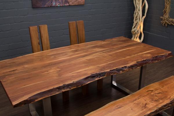 esstisch baumstamm planken metallbeine matt 213x104x76 massivholz suar tisch ebay. Black Bedroom Furniture Sets. Home Design Ideas