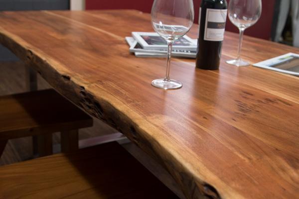 esstisch baumstamm planken metallbeine matt 213x103x76 massivholz suar tisch ebay. Black Bedroom Furniture Sets. Home Design Ideas