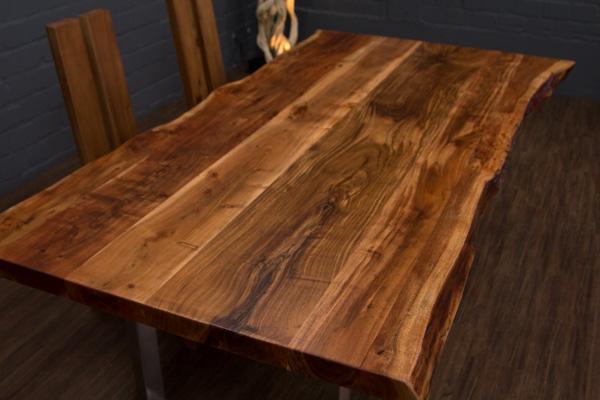 esstisch baumstamm planken metallbeine matt 212x117x76. Black Bedroom Furniture Sets. Home Design Ideas