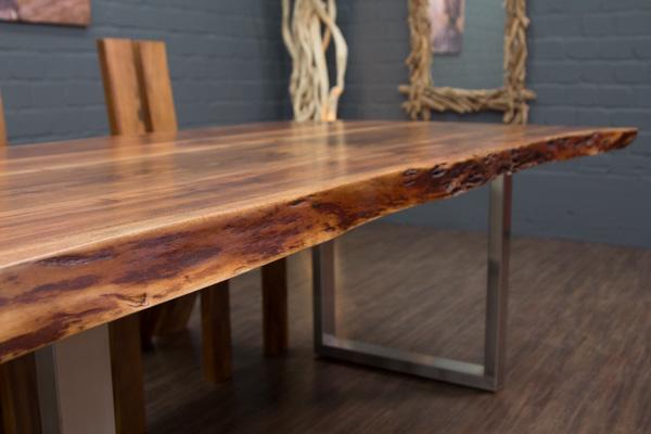 esstisch baumstamm planken metallbeine matt 212x117x76 massivholz suar tisch neu ebay. Black Bedroom Furniture Sets. Home Design Ideas