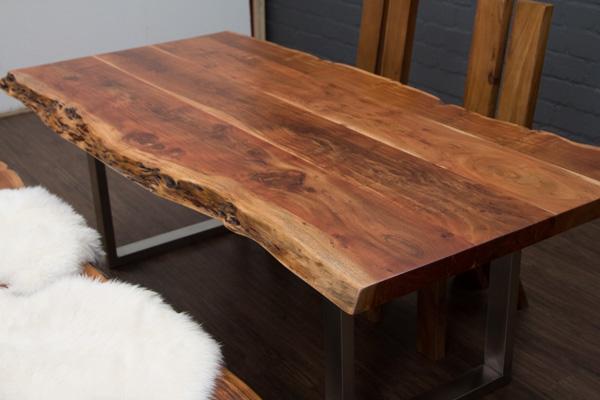 esstisch baumstamm planken metallbeine matt 214x106x76 massivholz suar tisch neu ebay. Black Bedroom Furniture Sets. Home Design Ideas