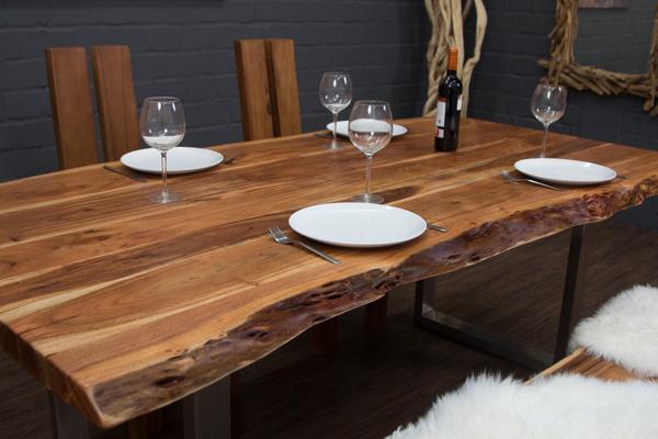 esstisch massivholz baumstamm planken 213x109x77 tisch suar natur metallbeine ebay. Black Bedroom Furniture Sets. Home Design Ideas