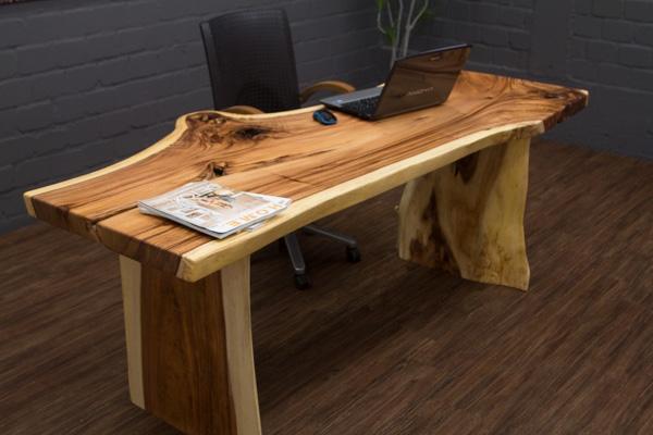 massivholz schreibtisch aus einer suar baumstamm scheibe. Black Bedroom Furniture Sets. Home Design Ideas