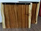 2 Tischbeine aus Suar Massivholz mit Baumkanten. Nr.18000